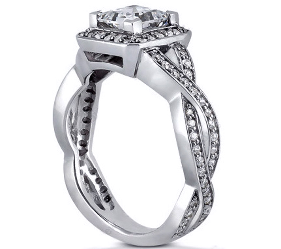 Engagement Ring Princess Diamond Halo Pave Twisted band Engagement Ring in 1