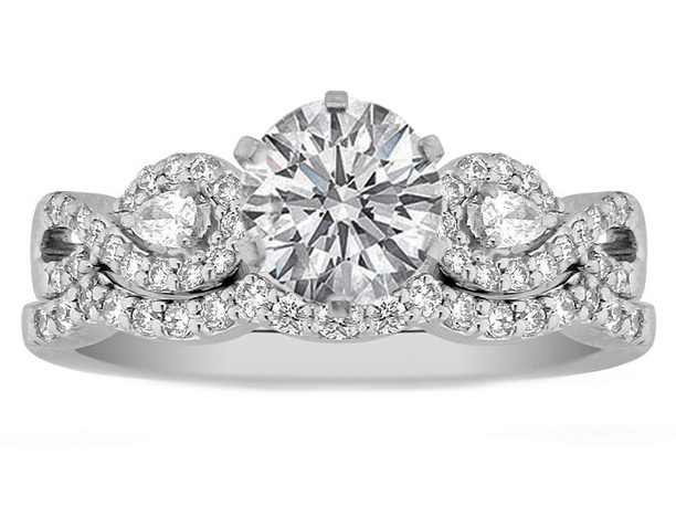 Infinity Engagement Ring U0026 Matching Wedding Ring Pear Accents, 0.70 Tcw.
