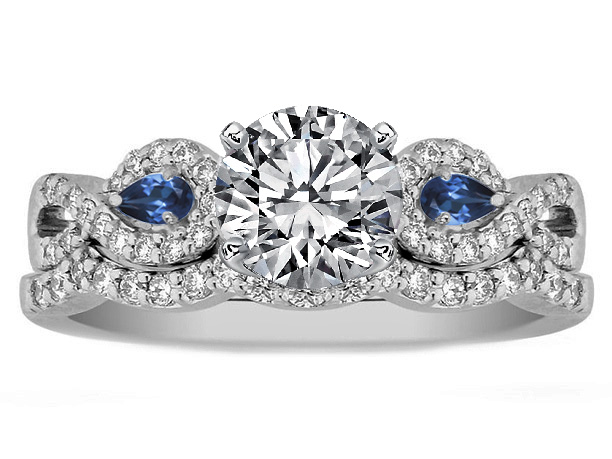 Infinity Engagement Ring & matching Wedding Ring Blue Sapphire Pear Accents, 0.70 tcw.
