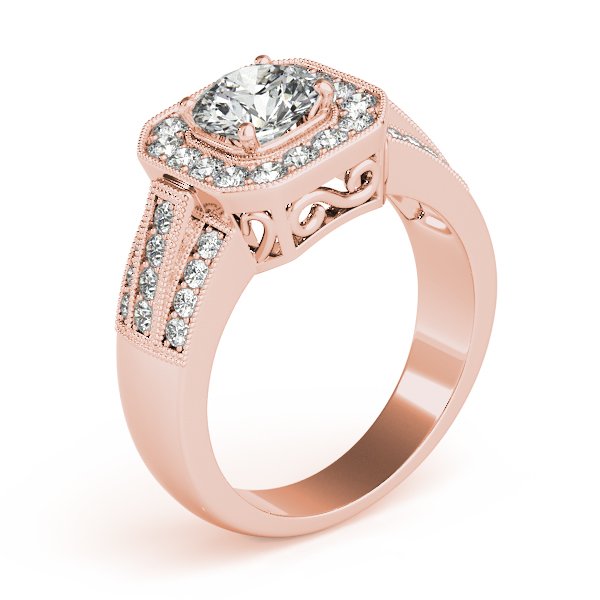 Square Halo Diamond Wide Engagement Ring with Multi-Row Band & Filigree in Rose Gold
