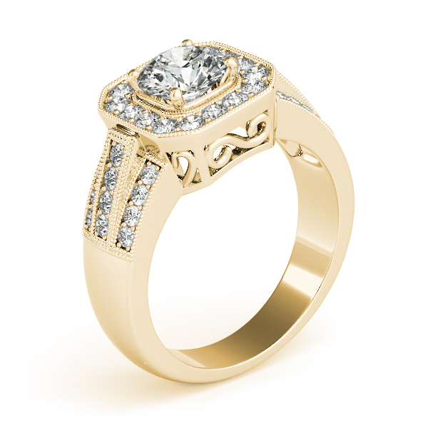 Square Halo Diamond Wide Engagement Ring with Multi-Row Band & Filigree in Yellow Gold