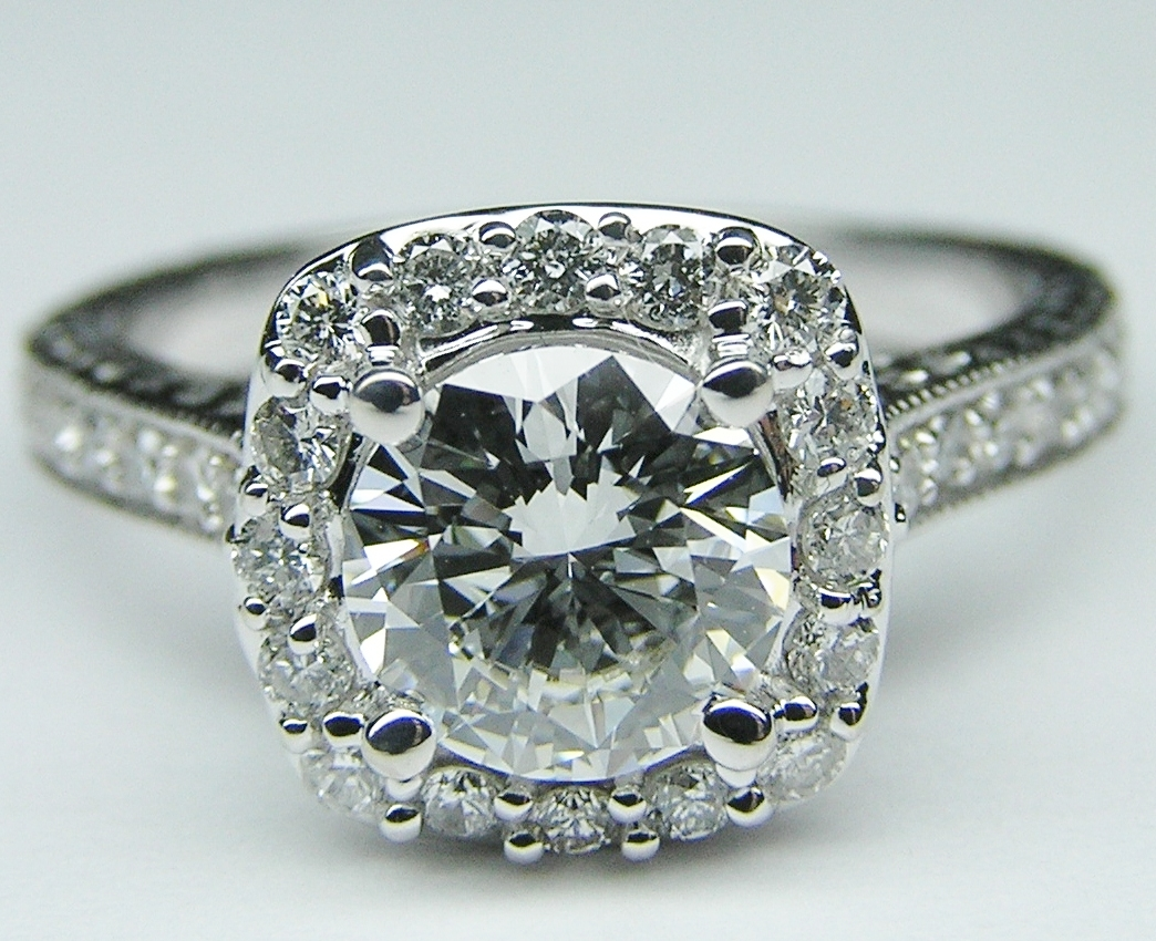 Engagement ring halo engagement ring setting floral for Diamond wedding ring settings
