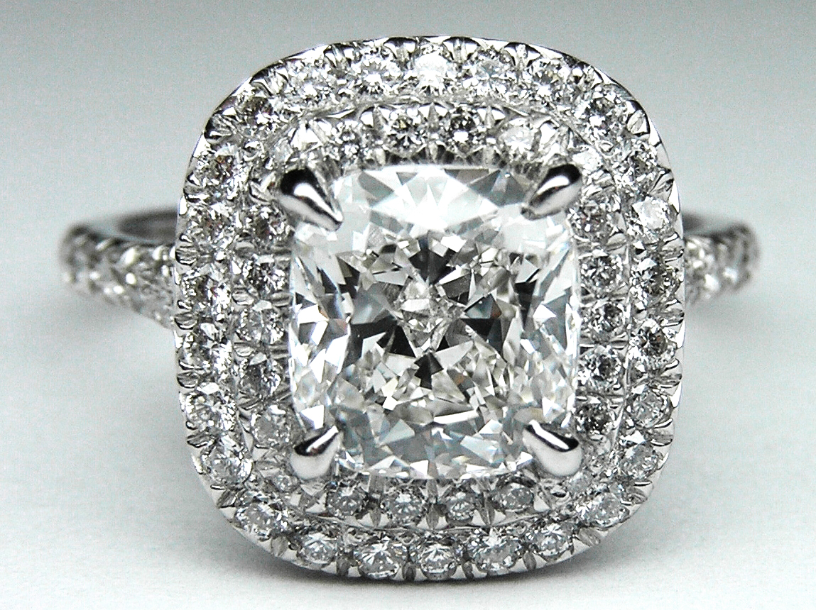 Cushion Diamond Double Halo Pave Engagement Ring in 14K White Gold.