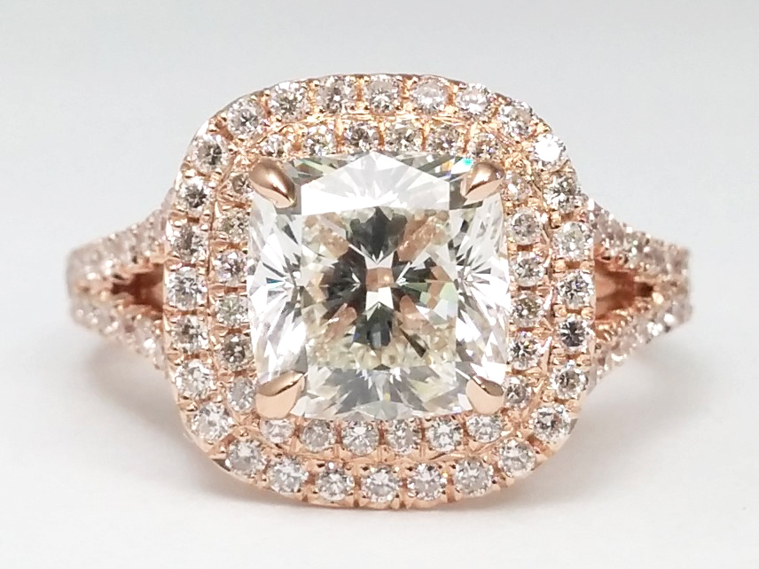 Cushion Diamond Double Halo Pave Engagement Ring in 14k Rose/Pink Gold