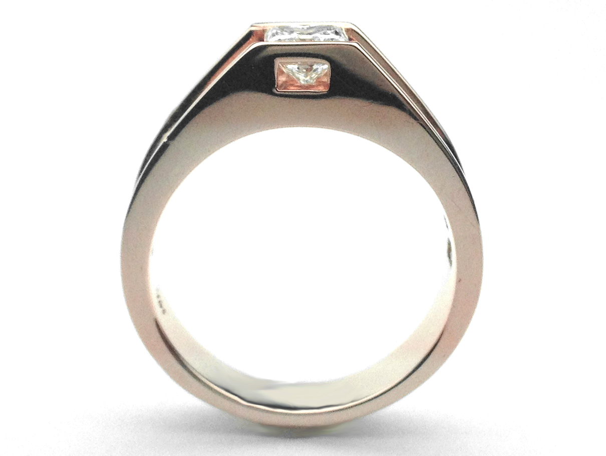Rose Gold Princess Diamond Bridge Baguette Engagement Ring