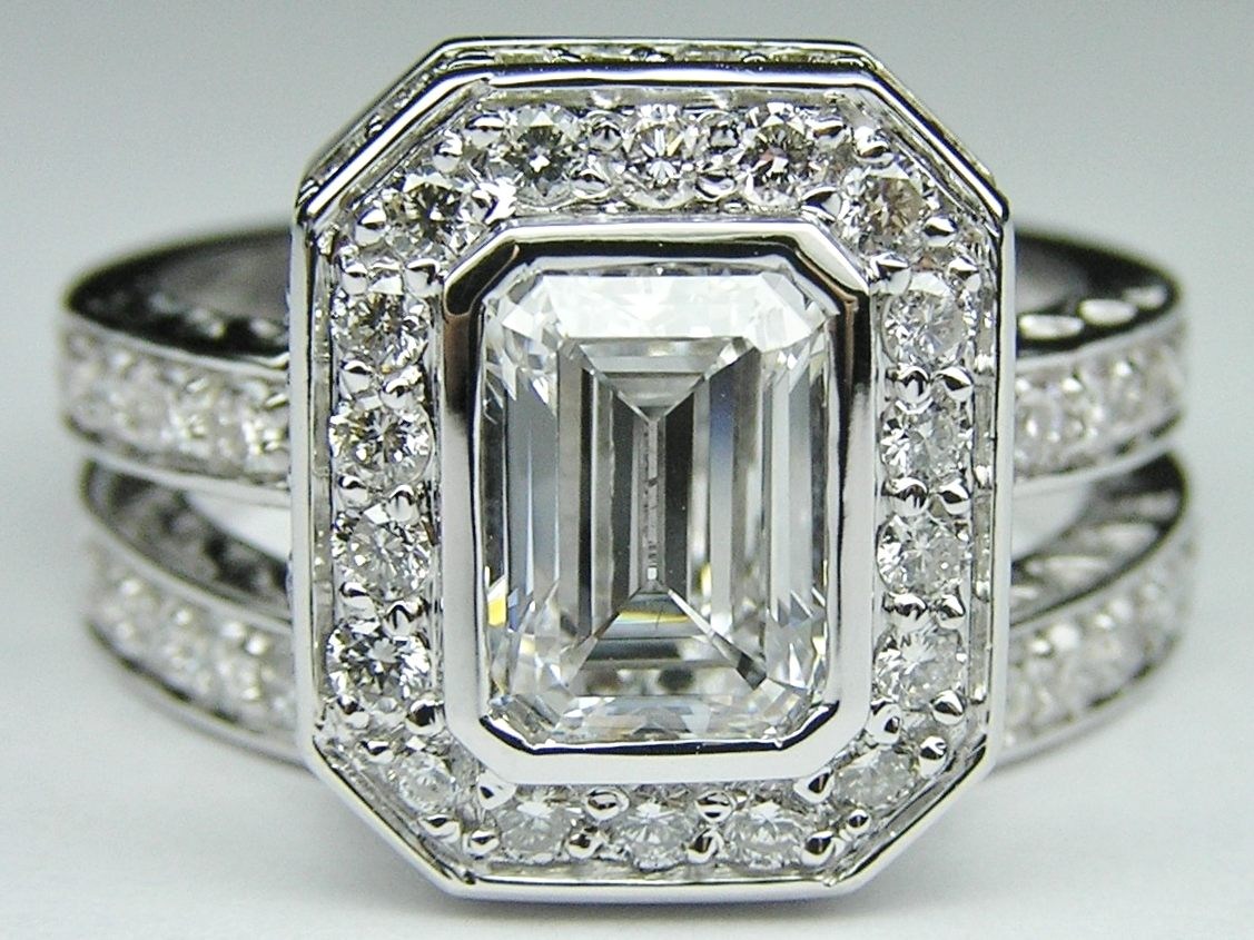Engagement Ring Emerald Cut Diamond Bezel Set Double Halo Bridal