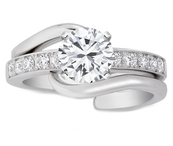 Round diamond Interlocking Bridal Set: Engagement ring & matching Wedding Band