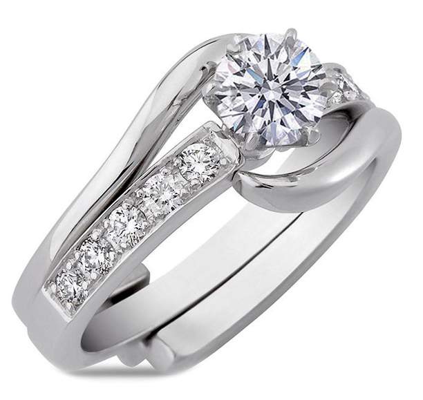 Engagement Ring Interlocking Bridal Set Diamond Matching Wedding Band Es933brbswg