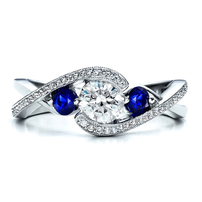 engagement ring twisted engagement ring blue