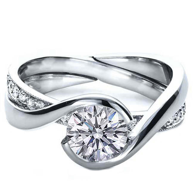engagement ring twisted criss cross pave diamonds