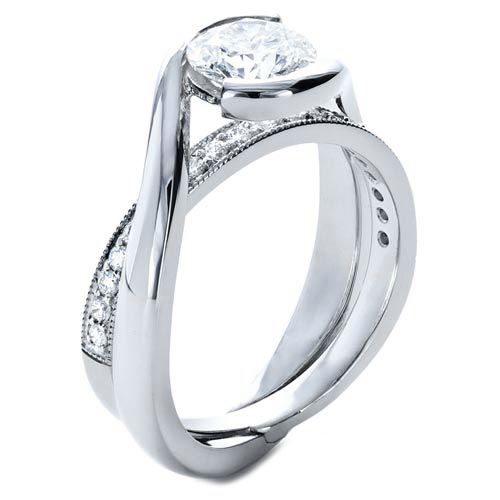 Engagement ring twisted criss cross pave diamonds for Interlocking wedding bands