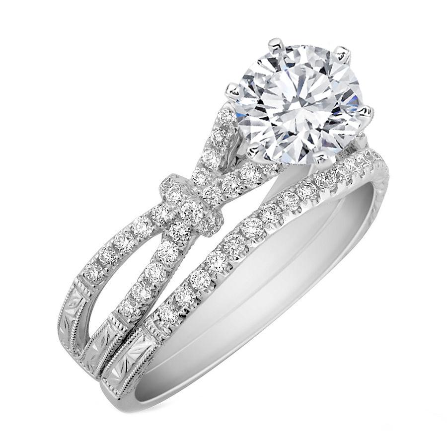 Engagement Ring Diamond Bow Knot Bridal Set Engagement Ring