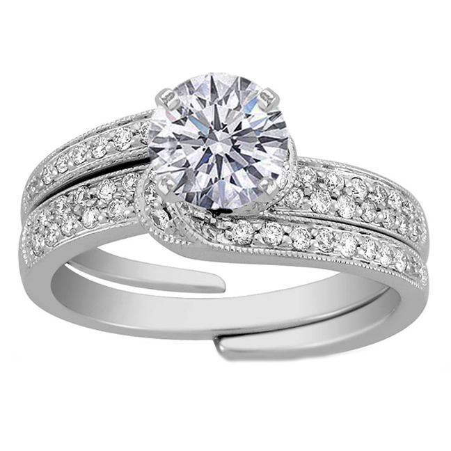 Interlocking Fl Diamond Wedding Set