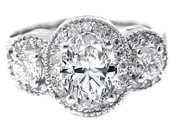 bda68f5dc719ba Engagement Ring -Three Stone Oval Diamond Halo Engagement Ring 0.89 ...