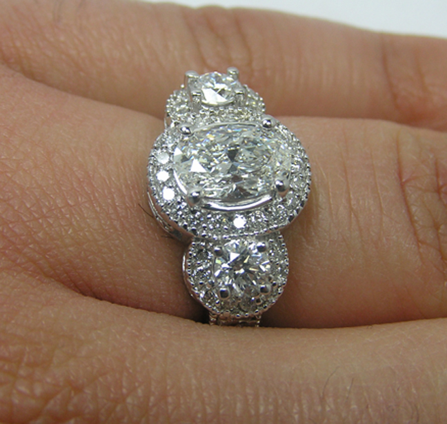 Engagement Ring Three Stone Oval Diamond Halo Engagement Ring in