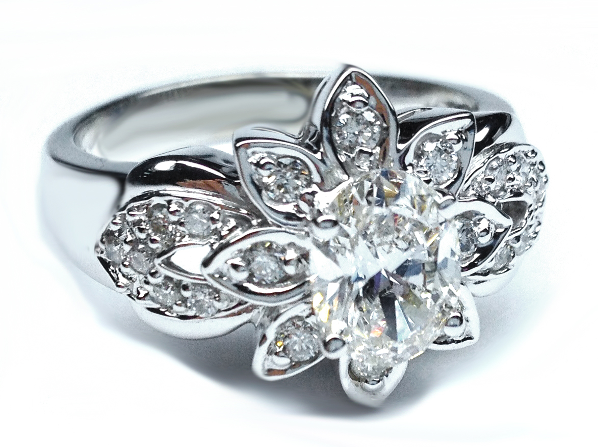 Antique Oval Diamond Flower Engagement Ring 029 Tcw In 14k White Gold