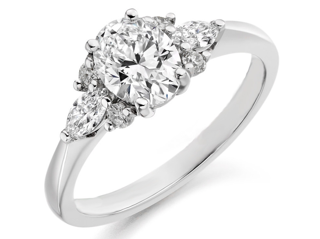 Oval Diamond Engagement Ring Diamonds Accents in White Gold
