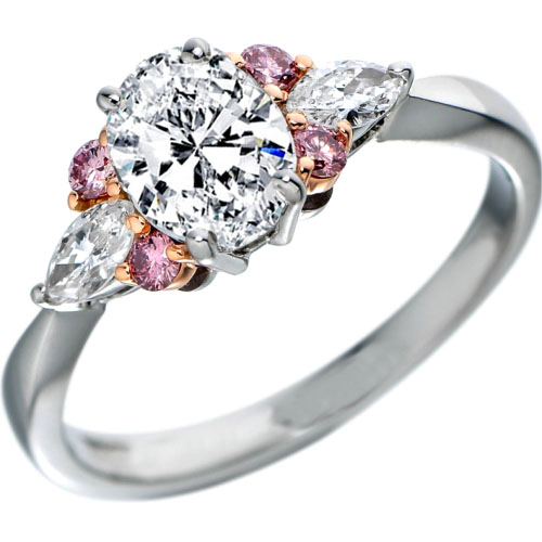 Oval Diamond Engagement Ring Natural Pink Diamonds Accents in White Gold