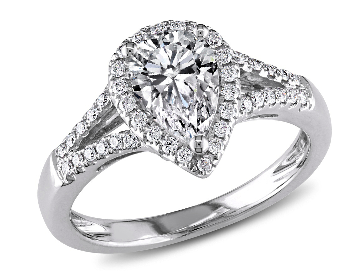 Pear Shape Diamond Halo Engagement Ring Split Band