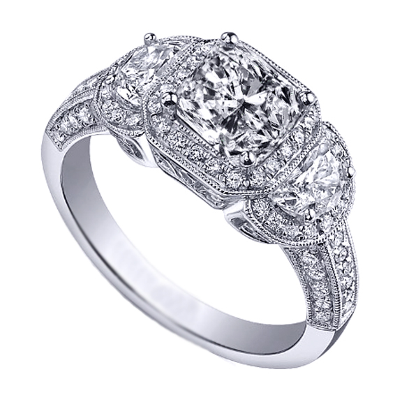 Radiant Diamond Halo Engagement Ring Half Moon Side Stones in 14K White Gold