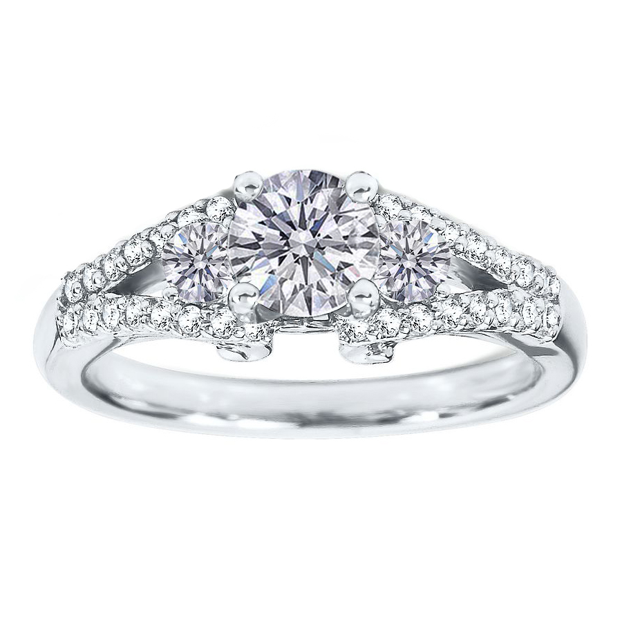 Double Pave Band  Diamond Engagement Ring 0.50 tcw in 14K White Gold