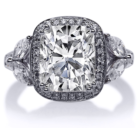 Engagement Ring Cushion Halo Diamond Engagement Ring marquise side stones in