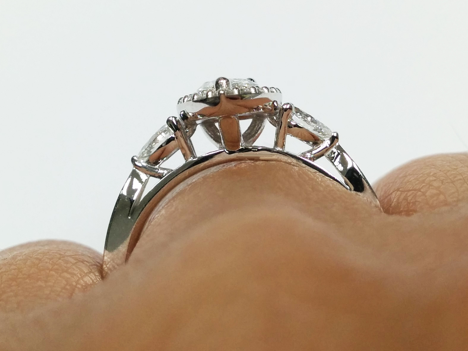 Cathedral Diamond Halo Engagement Ring Pear Shape side Diamonds in 14K White Gold