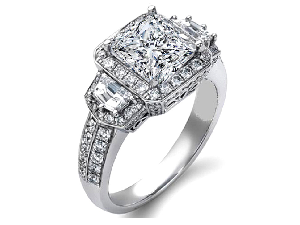Princess Diamond Halo Engagement Ring Cadillac Side Stones in 14K White Gold