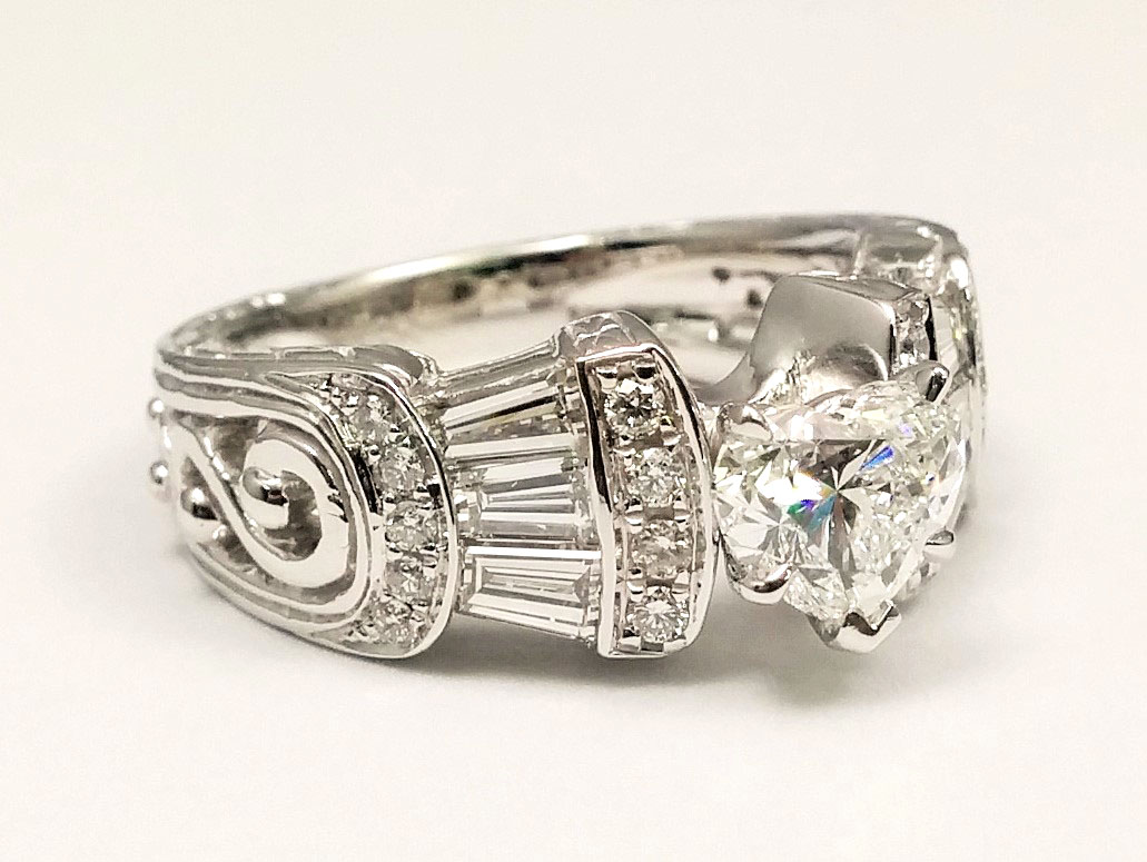 Heart Shape Diamond Vintage  Engagement Ring  Baguettes & Diamond Accents 0.8 tcw. In 14K White Gold