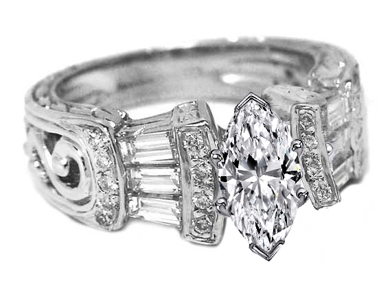 Marquise Diamond Vintage Heirloom Engagement Ring Setting with Baguettes & Diamond accents 0.80 tcw. In 14K White Gold