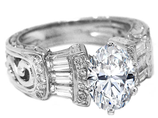 Oval Diamond Vintage Heirloom Engagement Ring Setting with Baguettes & Diamond accents 0.80 tcw. In 14K White Gold