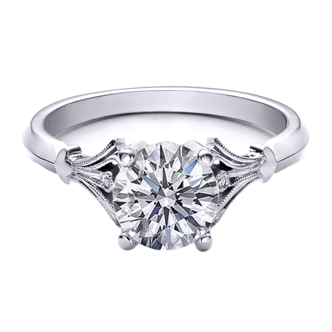 Diamond Engagement Ring Bezel Set Accents in 14K White Gold
