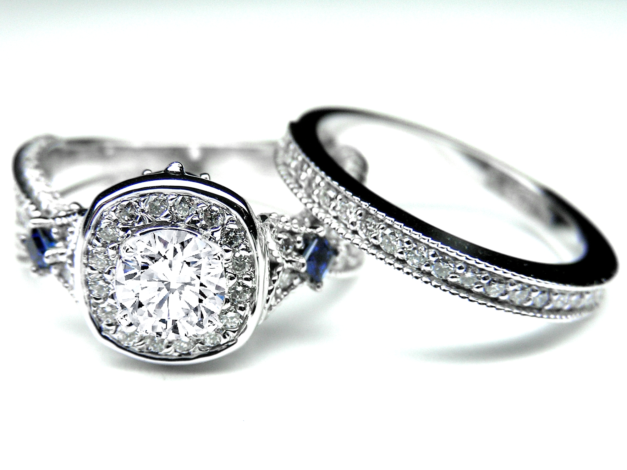 Engagement ring diamond halo laced bridal set blue for Wedding ring sets with sapphire accents