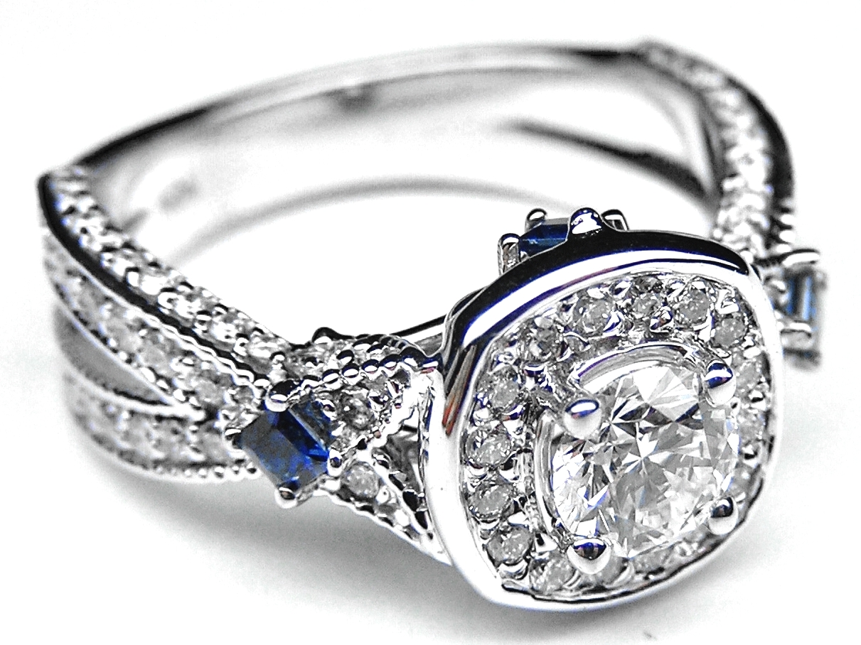 Engagement Ring Diamond Halo Laced Engagement Ring Blue Sapphire Accents in