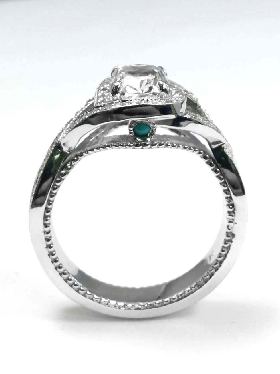 Cushion Diamond Intertwined Band Engagement Ring