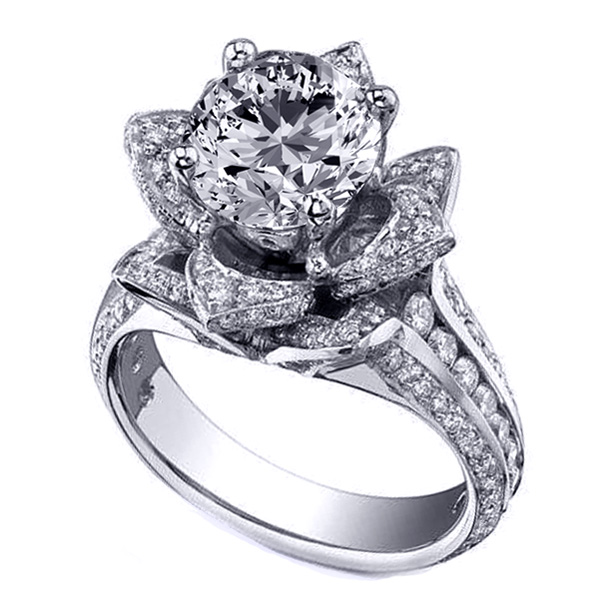 Lotus Diamond Engagement Ring In 14K White Gold