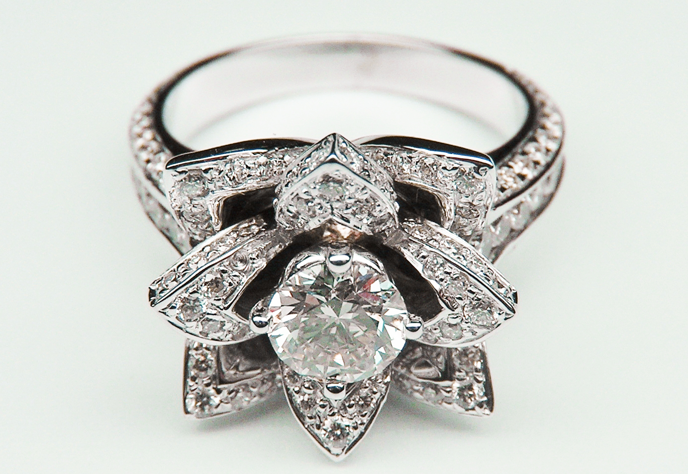 Engagement Ring Lotus Diamond Engagement Ring In 14K White Gold ES997BR