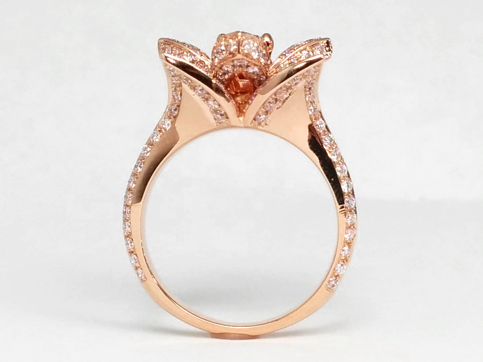 Lotus Diamond Engagement Ring In 14k Rose/Pink Gold