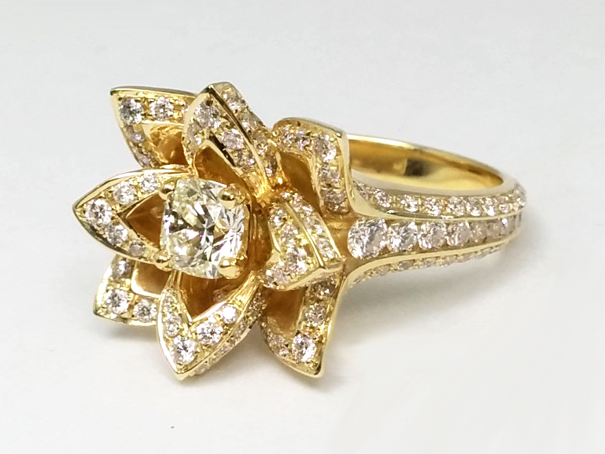 Lotus Diamond Engagement Ring In 14k Yellow Gold