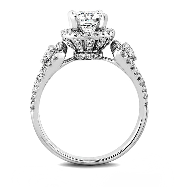 Crown Victoria Diamond Engagement Ring in 14K White Gold
