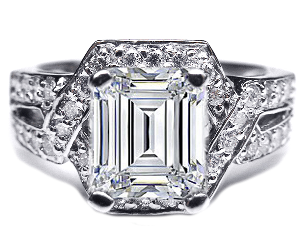 Emerald cut Diamond Engagement Ring Twisted laced pave setting 0.50 tcw. In 14K White Gold