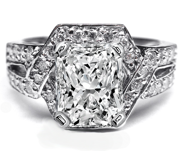 Radiant Diamond Engagement Ring Twisted laced pave setting 0.50 tcw. In 14K White Gold