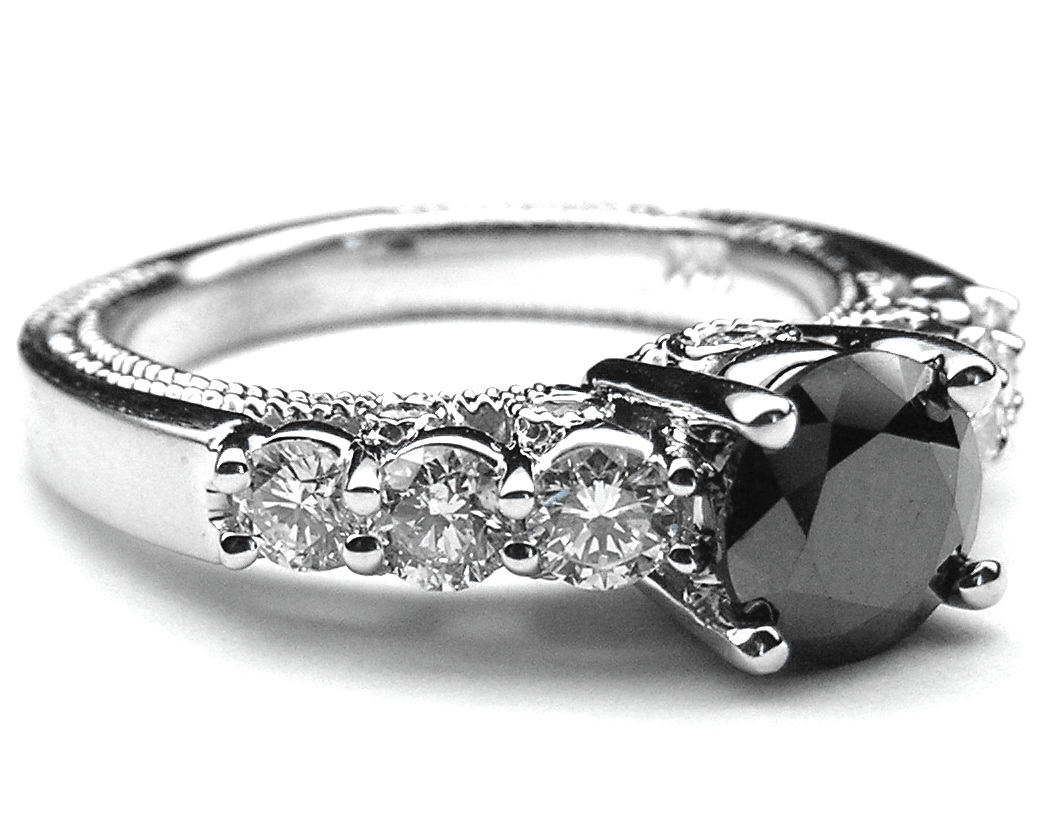 Black Diamond Vintage Ring in 14K White Gold