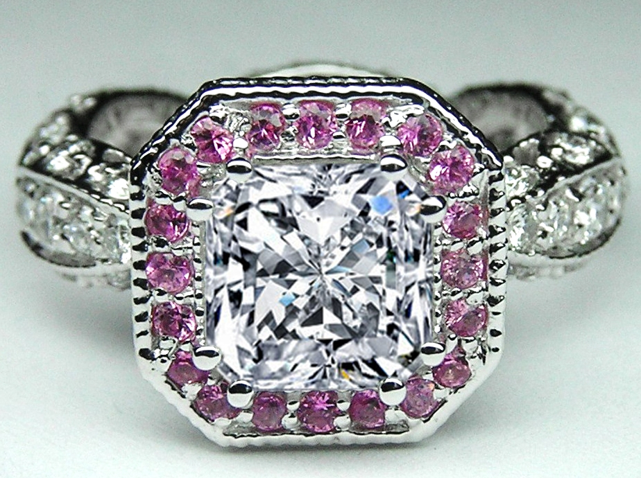 Radiant Diamond Vintage Pave engagement Ring, Pink halo