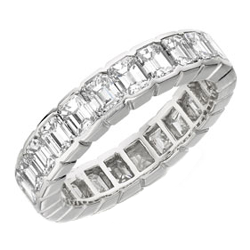 Emerald Cut Diamond Eternity Wedding Anniversary Band 5.00 tcw. In 14K White Gold