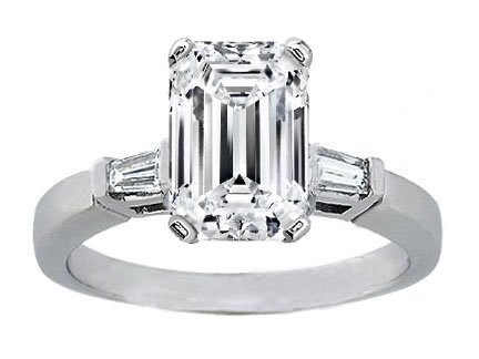 Emerald Cut Diamond Engagement Ring with Tapered Baguette Diamond Accents 0.20 tcw. In 14K White Gold Like Melania Trump