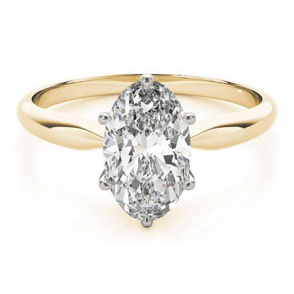 Classic Solitaire Oval Engagement Ring Yellow Gold