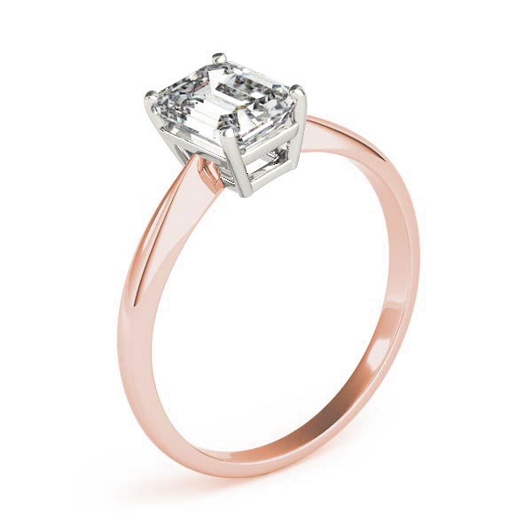 Classic Solitaire Emerald Engagement Ring Rose Gold