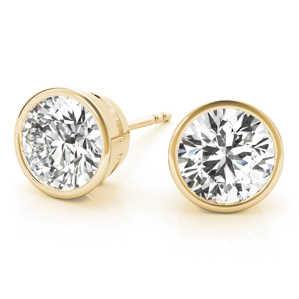 Round Bezel Earrings 0.7 Ct. Yellow Gold