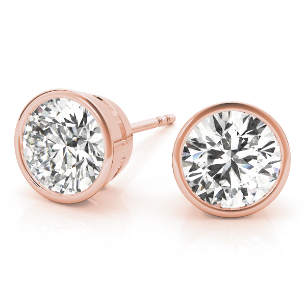 Round Bezel Earrings 0.7 Ct. Rose Gold